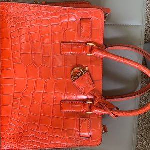 Michael Kors orange croc pattern leather bag
